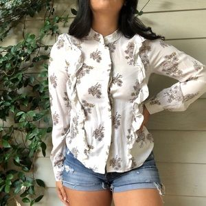 H&M Floral Long Sleeve ruffled Button Up Top